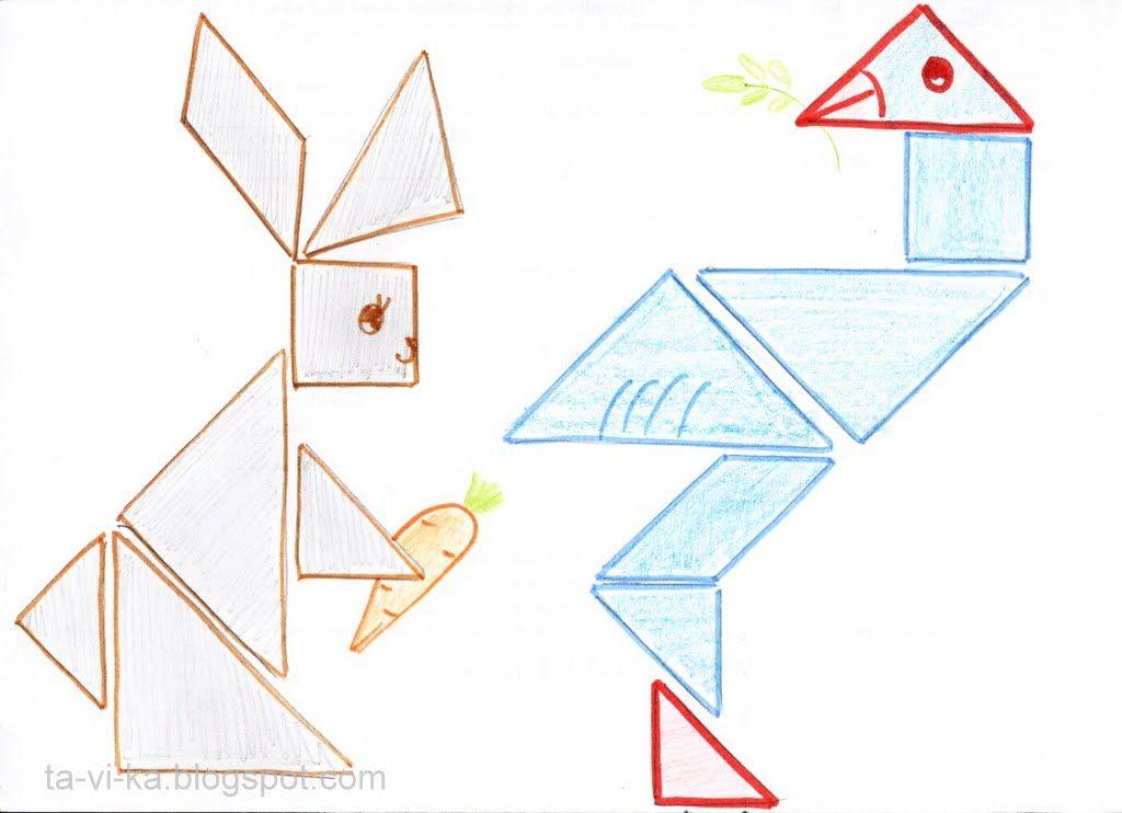 схемы танграм заяц