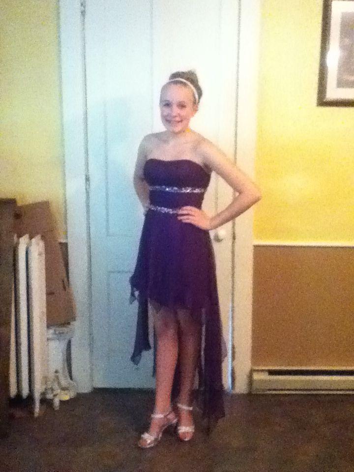 A beautiful purple short front long back dress I love it!