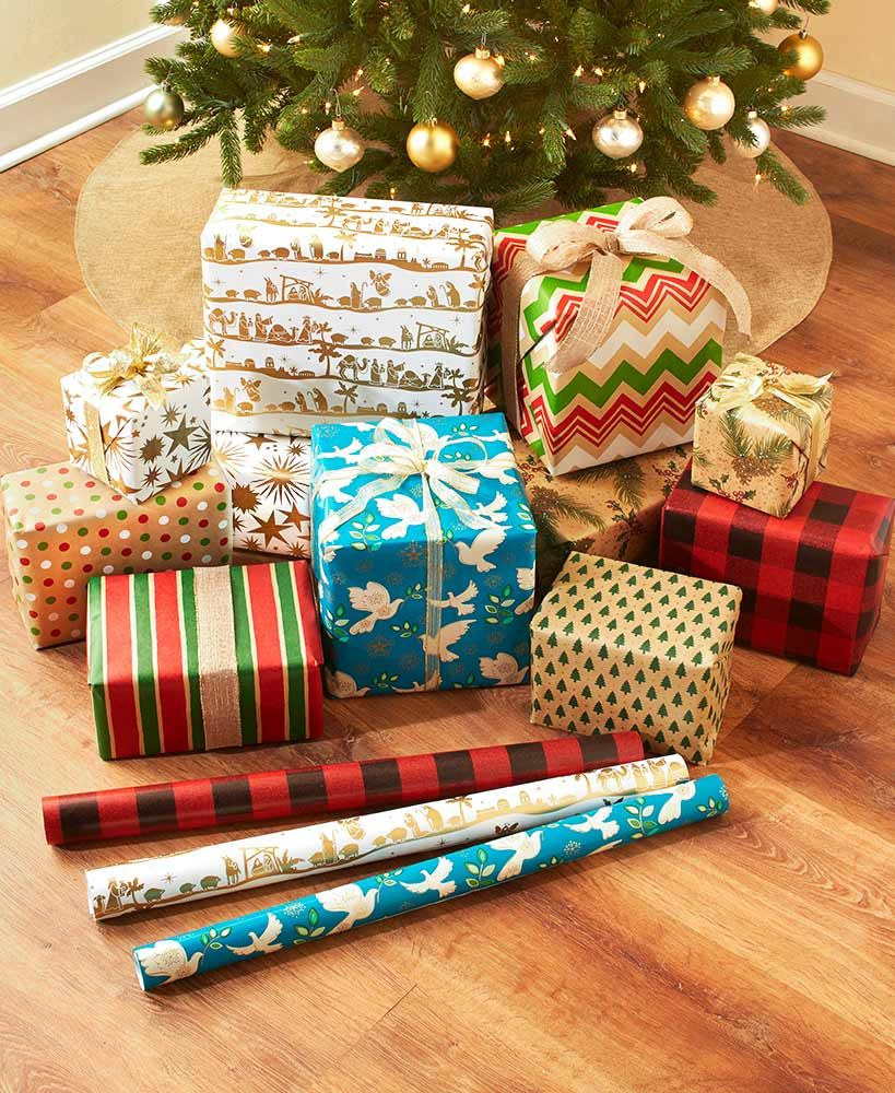 100 Sq Ft Coordinated Holiday Rollwraps Gift Wrapping Unique Christmas Decorations Christmas Gift Wrapping Paper