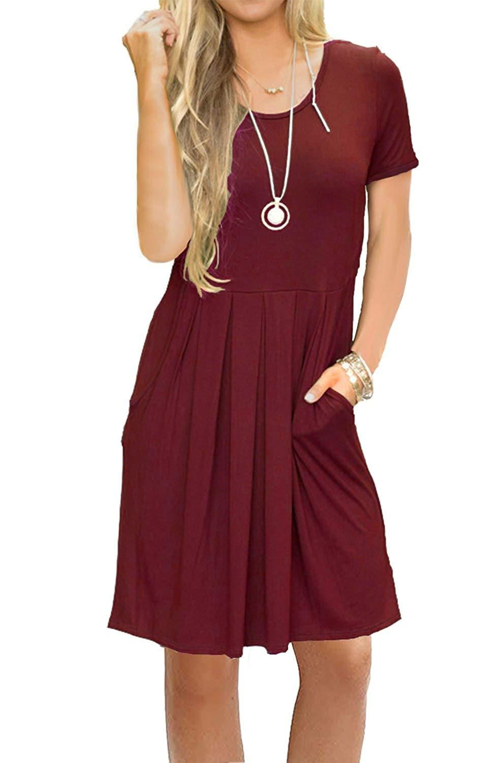 6970056b3969 AUSELILY Women's Short Sleeve Pleated Loose Swing Casual Dress with Pockets  Knee Length
