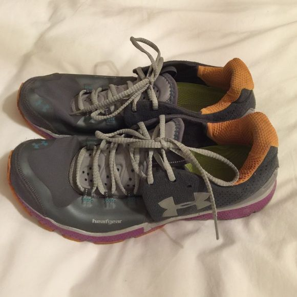 Under Armour Trail Running Sneakers Adorable grey and purple with hints of orange, very comfortable trail sneakers, highly breathable, good condition Under Armour Shoes Sneakers