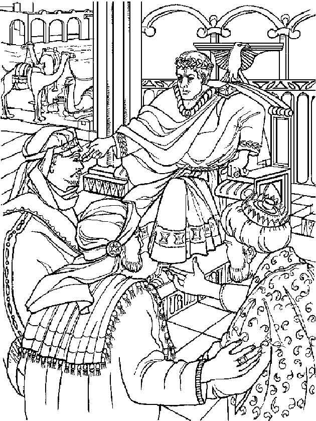 Kleurplaat Bijbel Kerstverhaal De Drie Koningen Bij