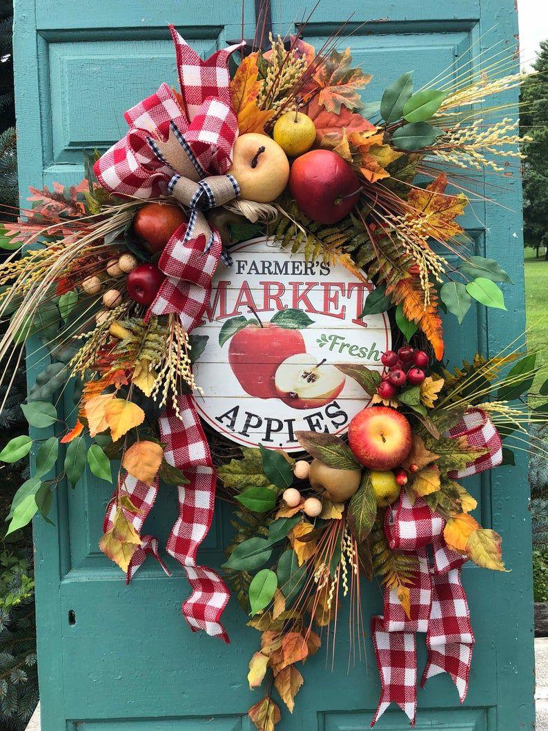 Photo of Apple Wreath, Farmhouse Wreath, Fall Wreath, Farmers Market Wreath, Wreaths for Front Door, Fall Farmhouse Decor, Fall Wreath for Front Door