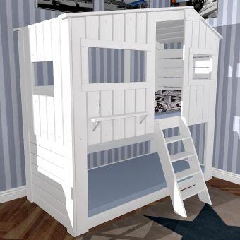 Spielbett Haus etagenbett spielbett strandhaus ii weiss massivholz 90x200cm
