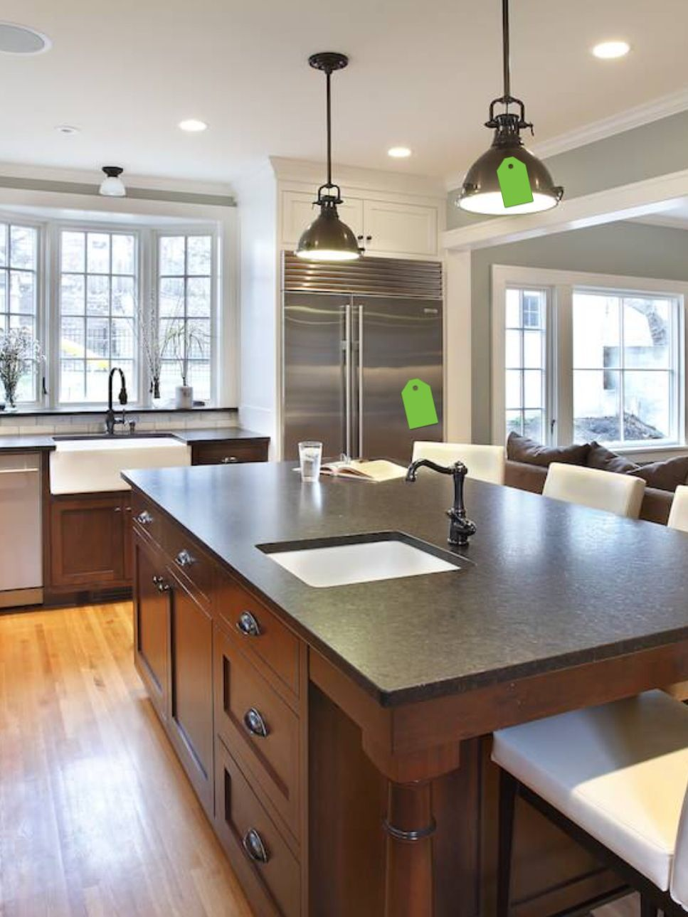 Great light fixtures apron sink and beautiful cabinets design