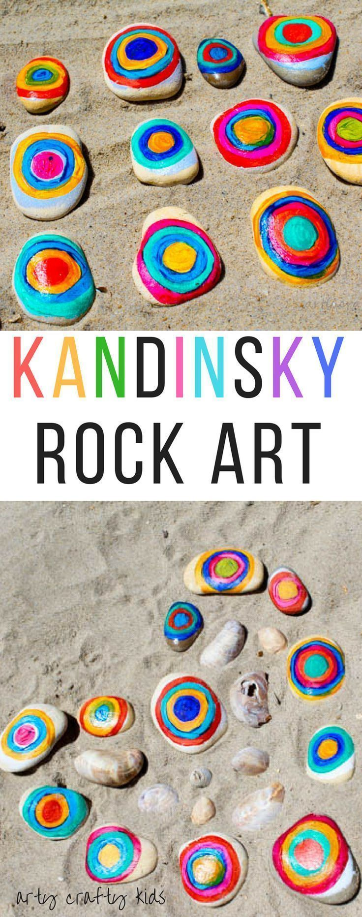 Arty Crafty Kids   Art   Kandinsky Inspired Rock Art   A fun interpretation of Kandinsky's famous conecentric circles. A great way for kids to learn about famous artists and create their own colouful nature art with rocks.