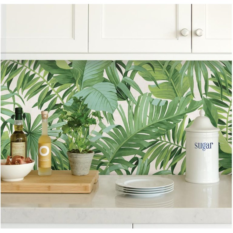 Wallpops 20 5 X18 Maui Palm Green And White Peel And Stick Wallpaper Home Hardware Wallpaper Bac Self Adhesive Wallpaper Nuwallpaper Palm Print Wallpaper