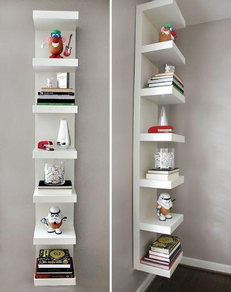 awesome use of the glossy white ikea lack shelf unit,