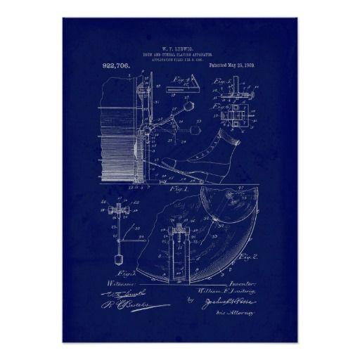 Vintage Blueprint drum apparatus art print Art! Pinterest Drums - new blueprint book for welders