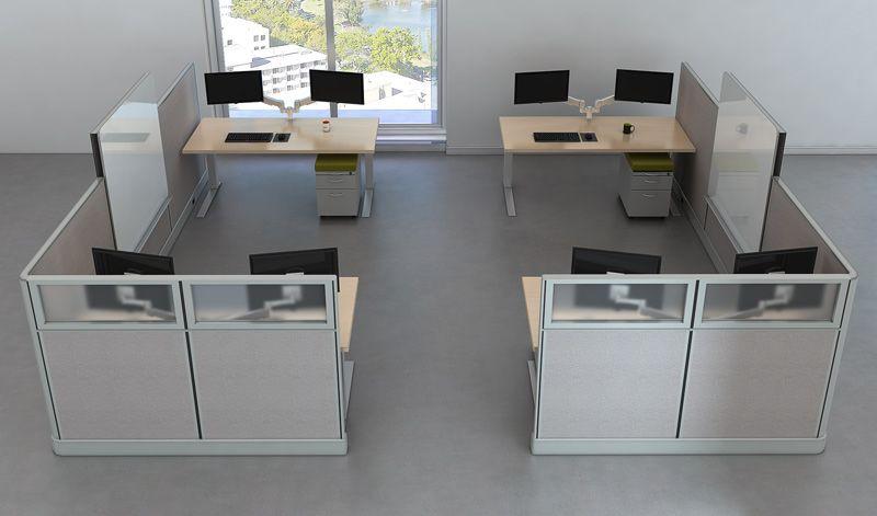 4 Person Collaborative Bullpen W Dual Monitors And Whiteboards