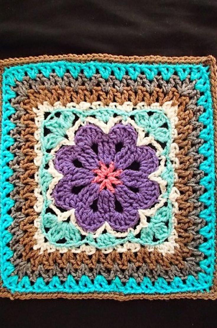 Free Pattern] Lovely And Adventurous Design: Flower Tile Afghan ...