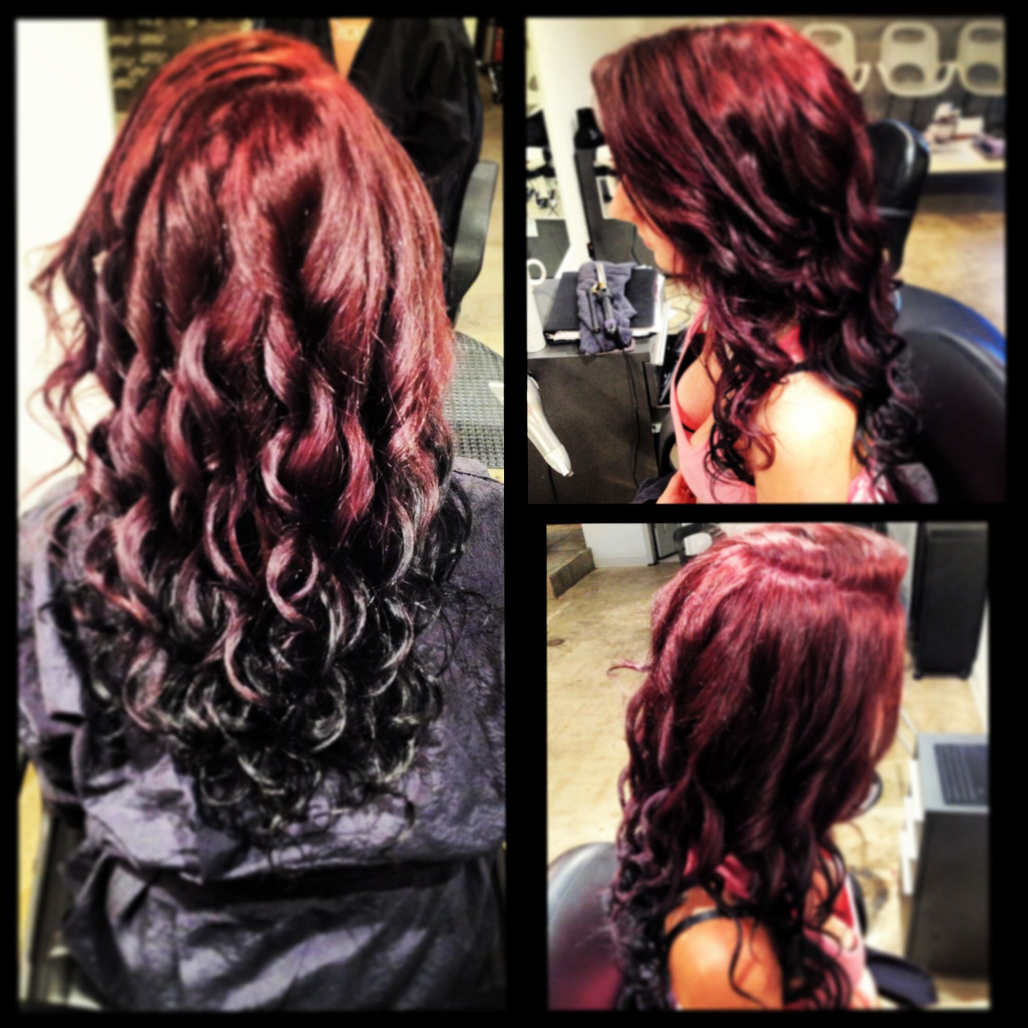 Reverse Ombre Red To Black Curls By Nslh Black Hair Ombre