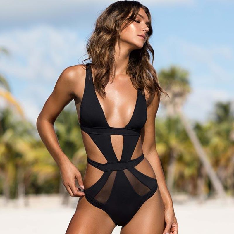707e02086db One Piece Swimsuit 2018 Women Sexy Swimsuit Swimwear Lace Solid Bathing Suit  Backless Monokini Summer Holiday Beach Wear Swim