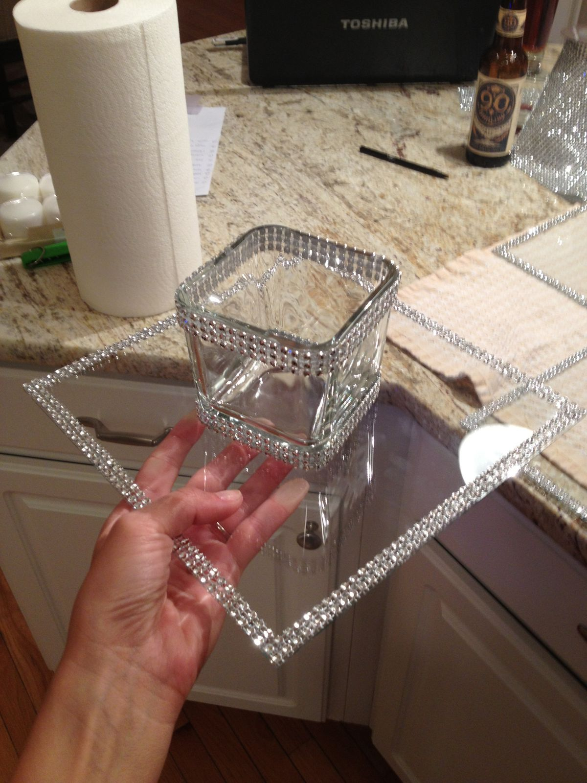 Dollar tree crafts - clear glass from pic frame and votive candle ...