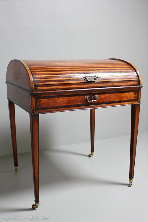 18th Century Satinwood Rolltop Desk Rolltop Desk, Antique Desk, Antique  Furniture, Waterfall Furniture - 18th Century Satinwood Rolltop Desk Antique And Collectible