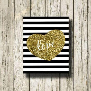 Love Gold Black White Stripe Print Printable Instant Download Poster ...