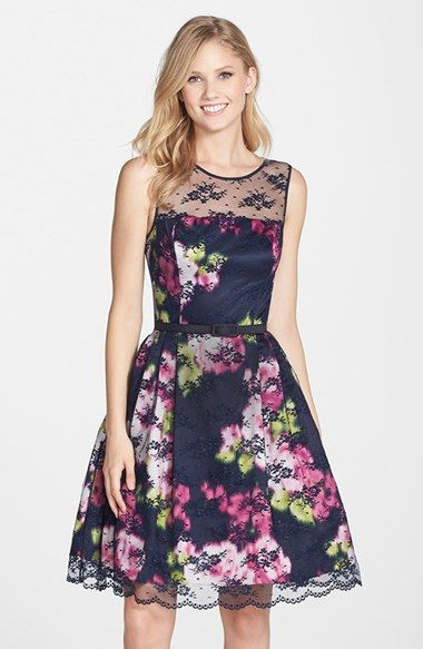 a8e797002899 Eliza J Belted Lace Overlay Floral Print Dress (Regular   Petite) available  at  Nordstrom