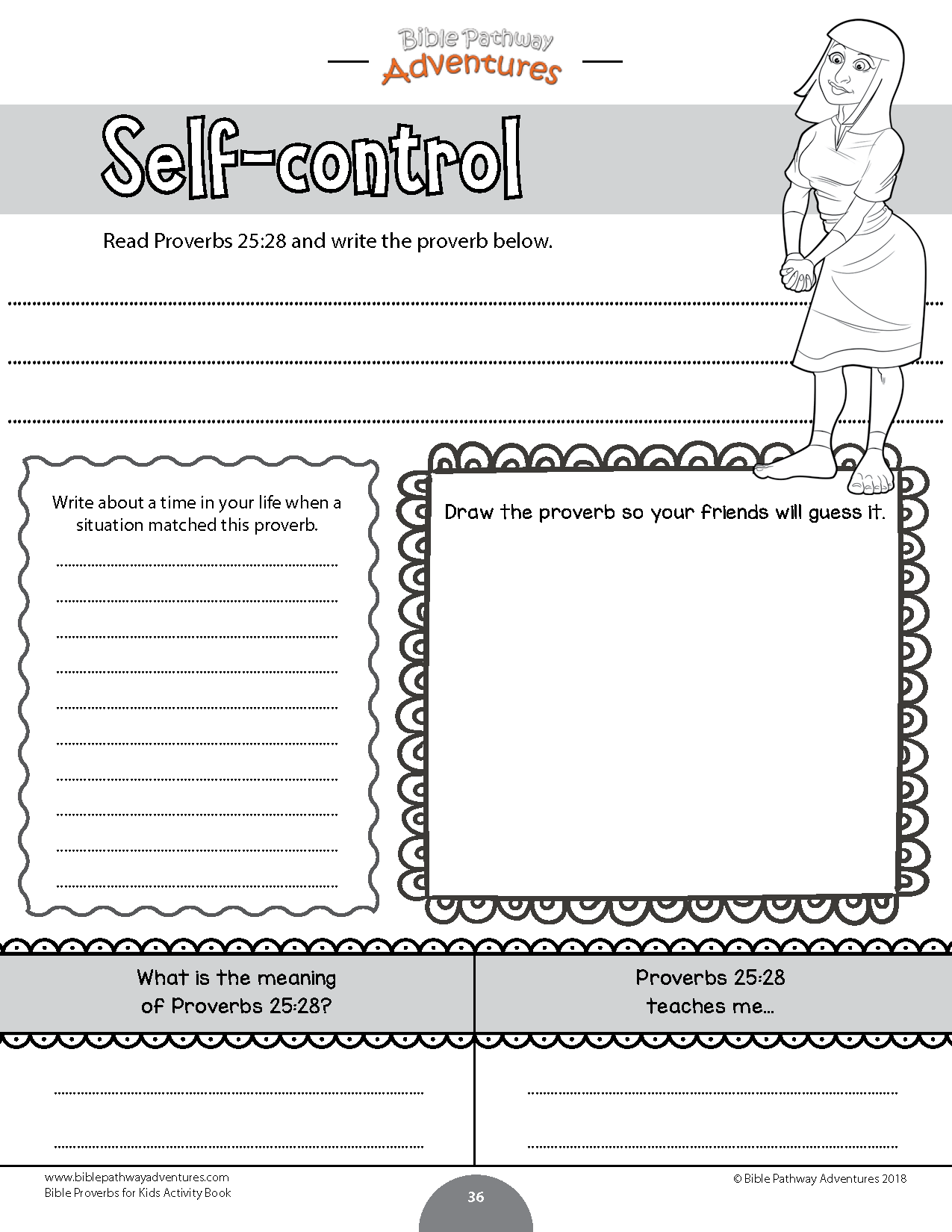 Bible Proverbs Worksheet For Kids Self Control