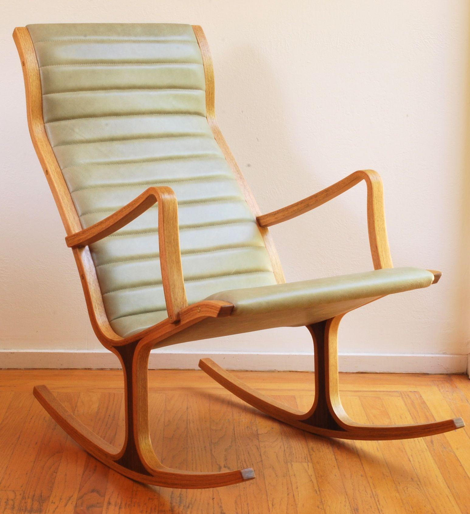 Tendo Mokko Heron rocking chair following reupholstery in semi