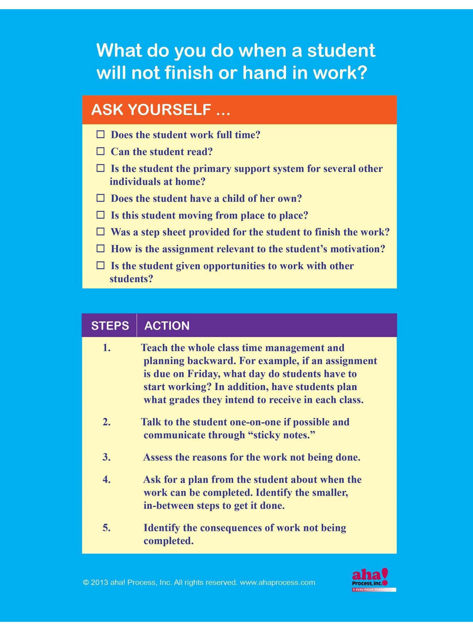 What to do when a student doesn\'t hand in homework. Excerpted from ...