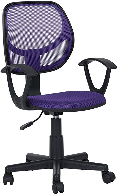 Amazon Com Hm Ven Jose Homycasa Mid Back Computer Swivel Mesh Desk Office Chairs With Arms Purple Home Kitchen Office Chair Chair Office Desk Chair