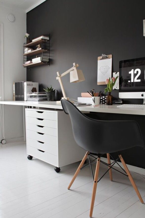 Dark Grey Study Room Home Office Design Office Interiors Home Office Space