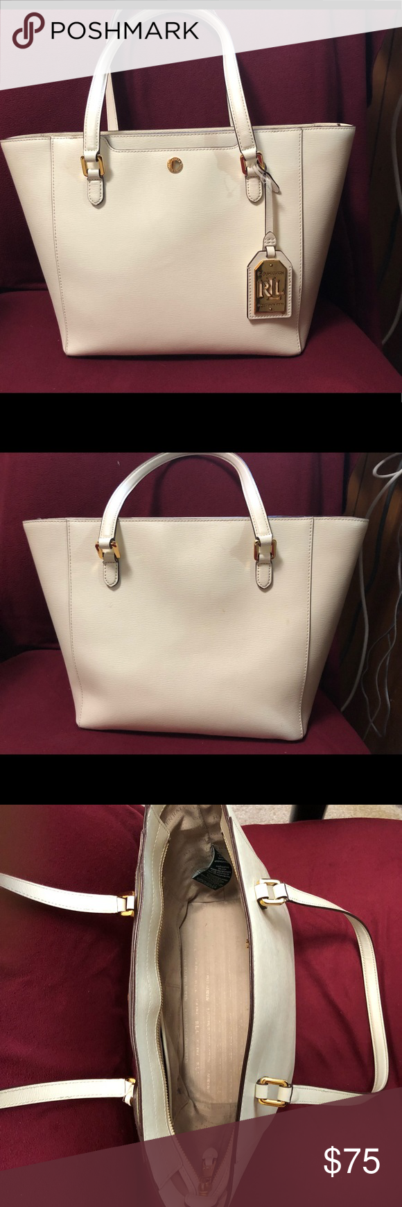 b8c0fab2de5 Lauren Ralph Lauren white leather tote bag. White leather next to new.  Perfect condition