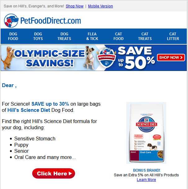 Pet Food Direct Deals Email With Olympics Themed Stripe Olympic Size Savings With Pets Wearing Sports Science Diet Dog Food Food Animals Hills Science Diet