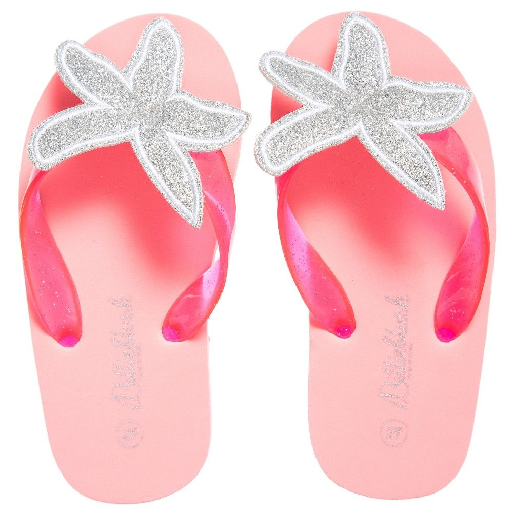 44365a8bca73 Girls neon pink flip-flops by Billieblush with pink toe straps containing  silver glitter specks within