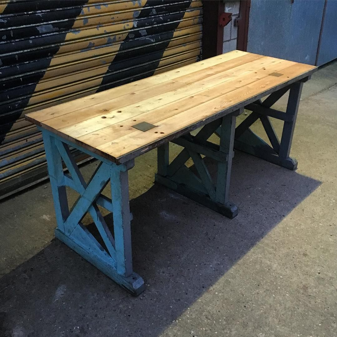Charming Vintage Industrial Work Bench. Ideal Desk/ Table/ Counter/ Kitchen Worktop.  Now