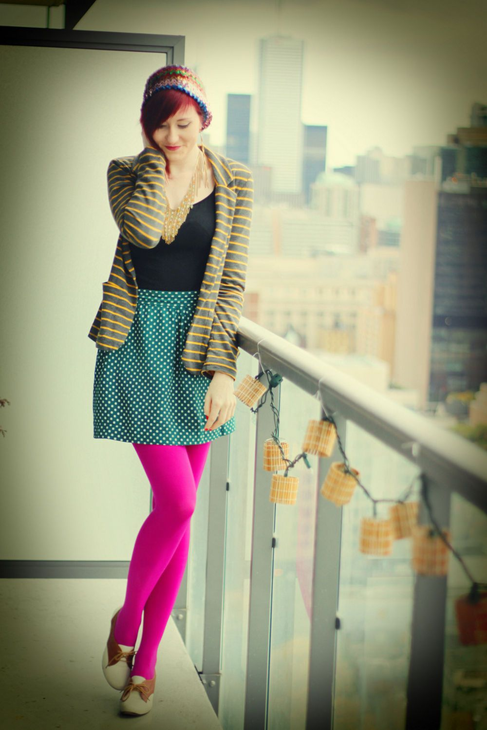 Fashion look from january 2016 featuring pink opaque tights round - Bright Pink Pantyhose And Green Polka Dot Skirt