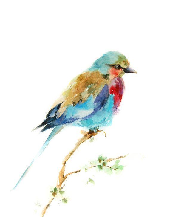 Lilac Bird Watercolor Painting Art Print, Bird Art ...