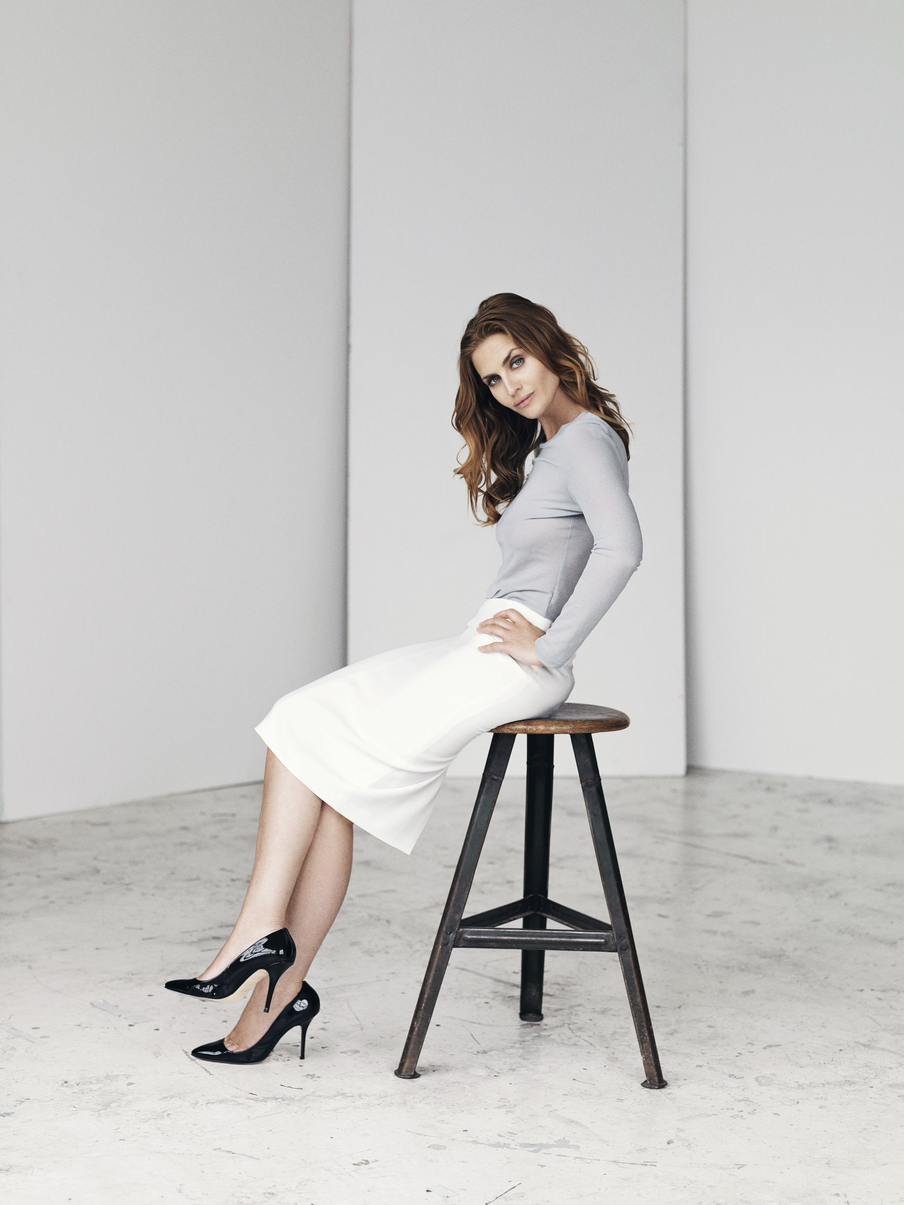 Image pic: White pencil skirt with long sleeved tee - SS15. Model ...