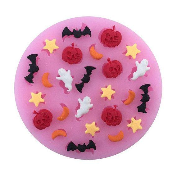 Silicone Mold Sprinkle Bat Pumpkin Moon Ghost Jack Olantern Star Fall