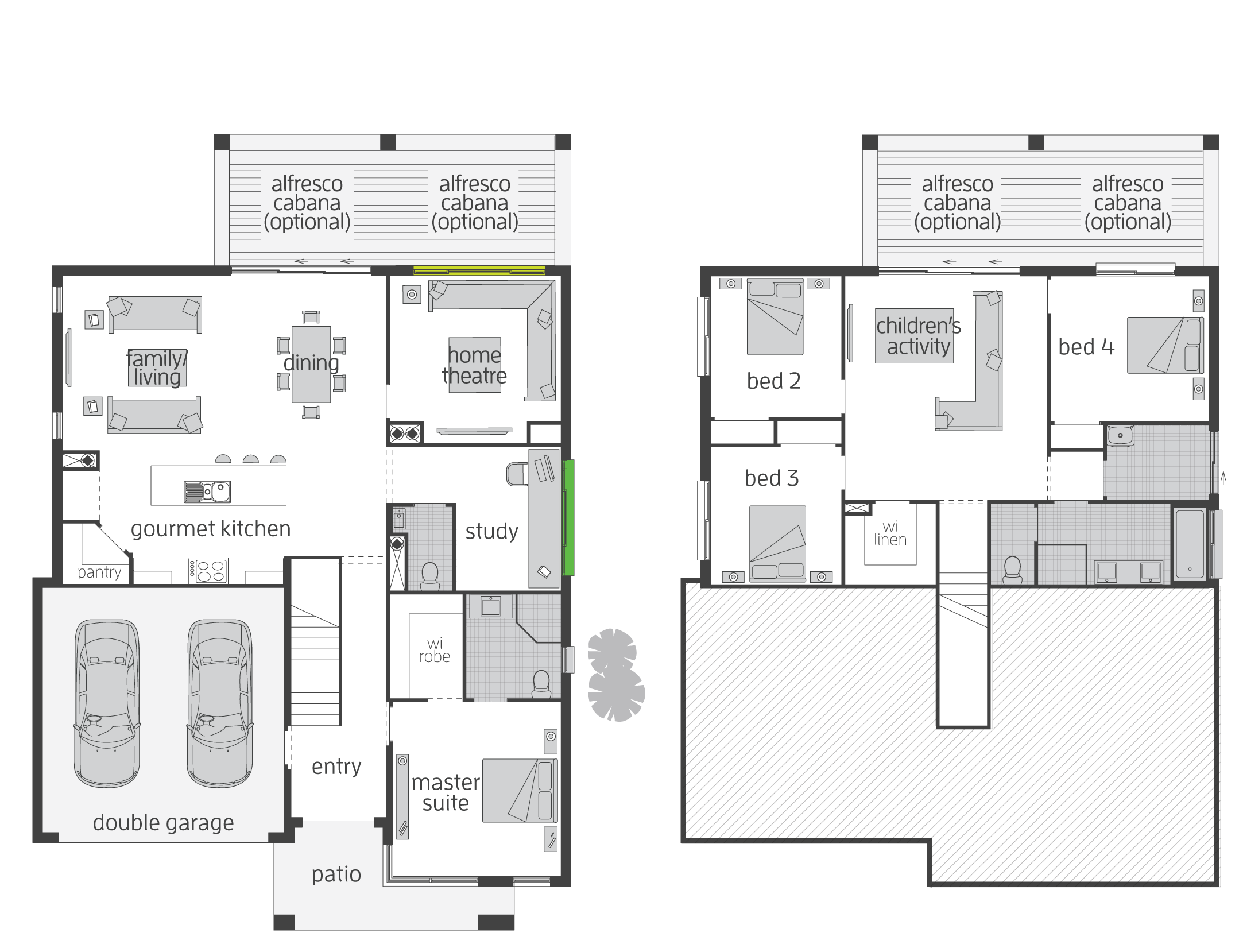 Katrina Chambers blog  split level floor plan   I LOVE this design  I would  swap the master suite and study though as I don t like bedrooms at the  front. The Horizon Split Level floor plan by McDonald Jones