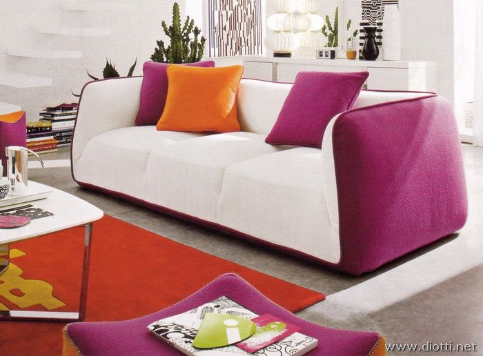 Pink and orange couch