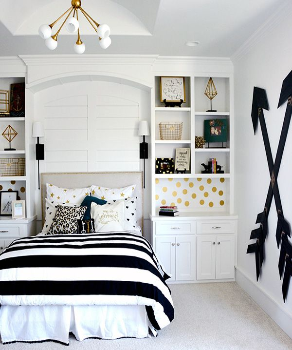 Black and white teen bedroom bedroom in 2019 girls - White bedroom furniture for girl ...