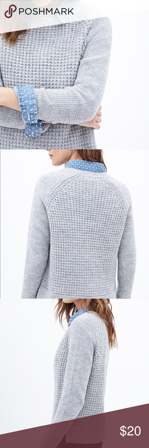 Forever 21 Women's Gray Waffle Knit Sweater