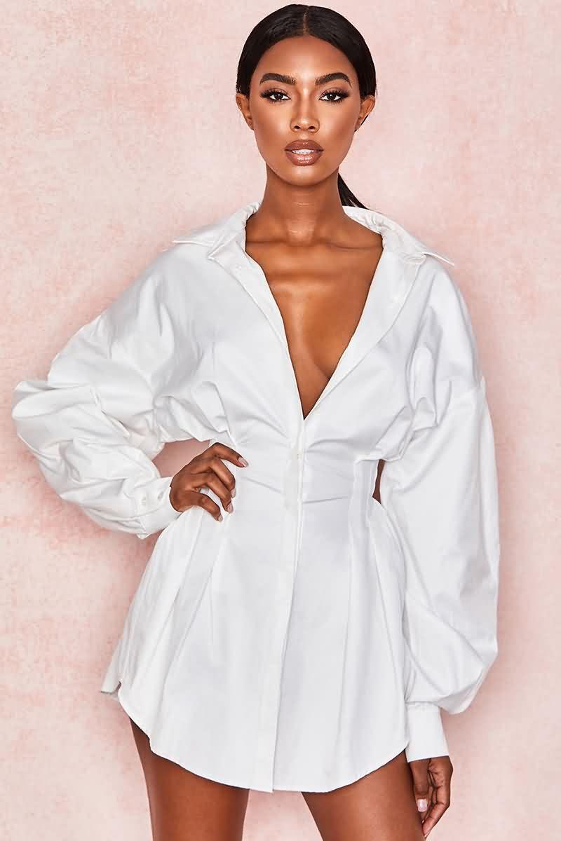 Long Sleeve Button Up Lapel Casual Mini Dress In 2021 Mini Dress Casual Clothes Dress Shirt Sleeves [ 1200 x 800 Pixel ]