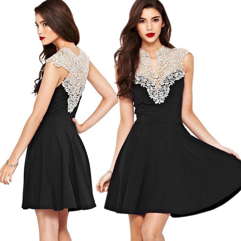 New Design Crochet Embroidery Vintage Lace Dresses Women Elegant Lady  Sleeveless Big Swing Skater Dress Evening Party Dress de1f13493335