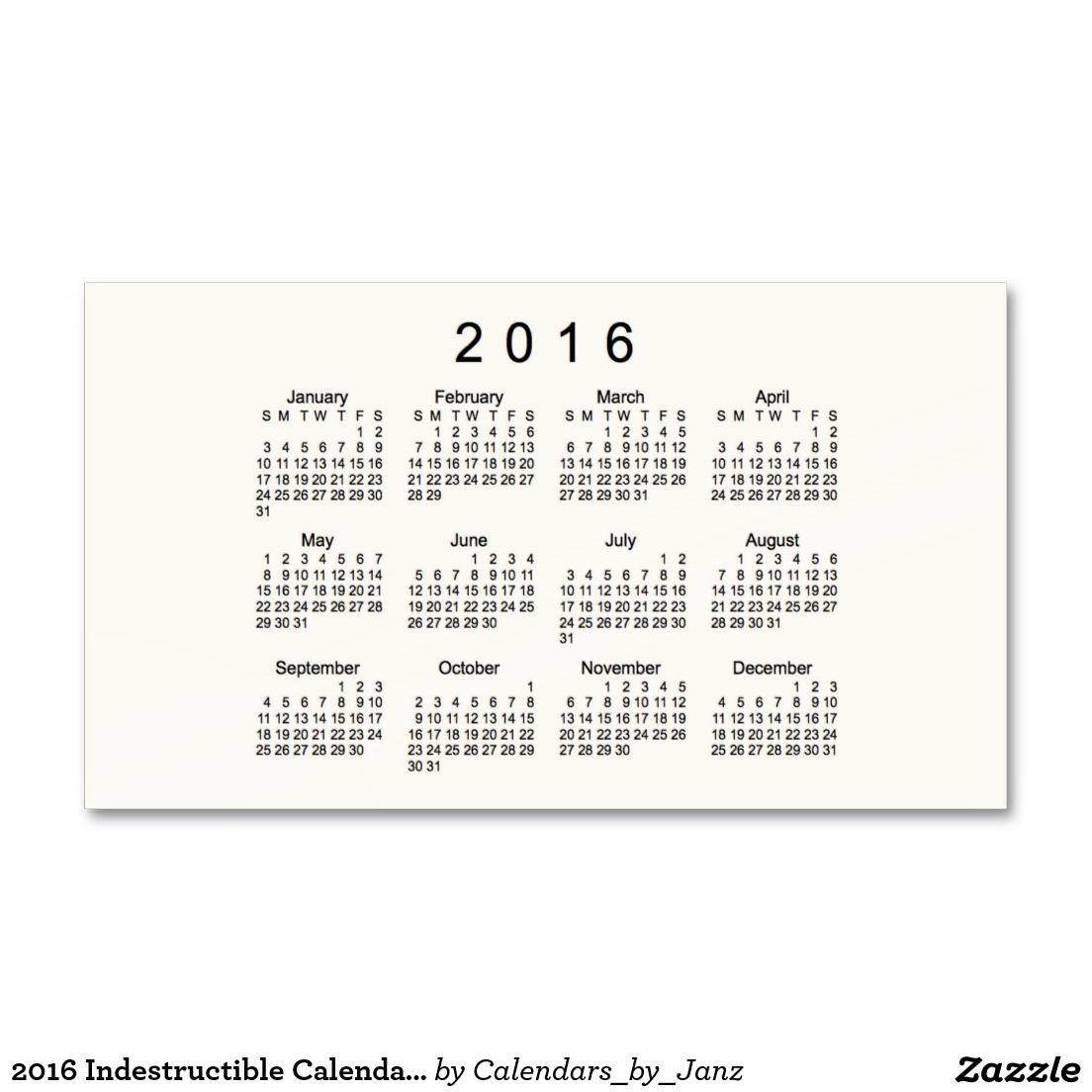 2016 indestructible calendar by janz business card - Shell Small Business Card