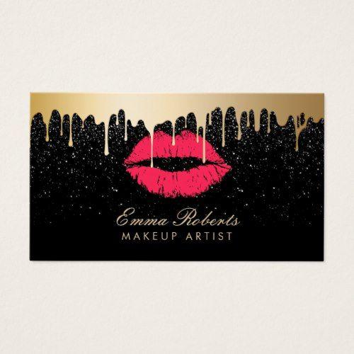 Makeup Artist Red Lips Gold Drips Modern Black Business Card Black - Makeup artist business card template