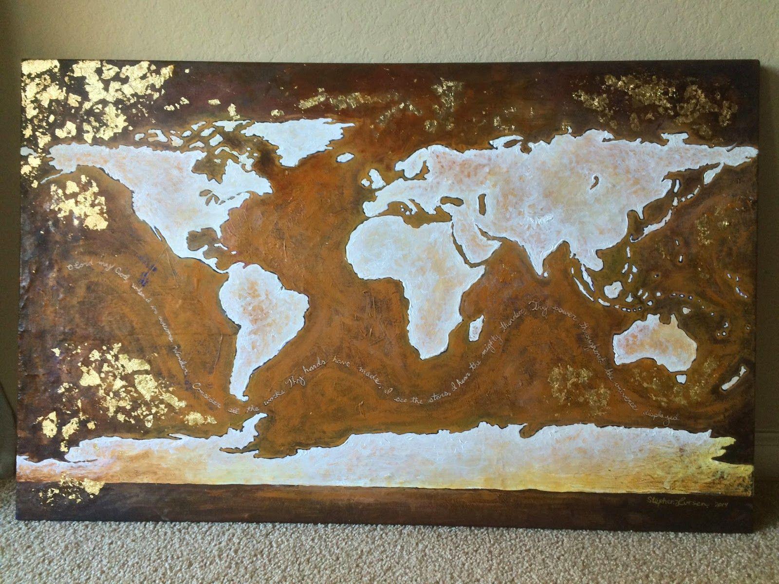 Stephen lursen art stephen lursen artist donna downeys x acrylic and gold leaf world map on canvas gumiabroncs Images