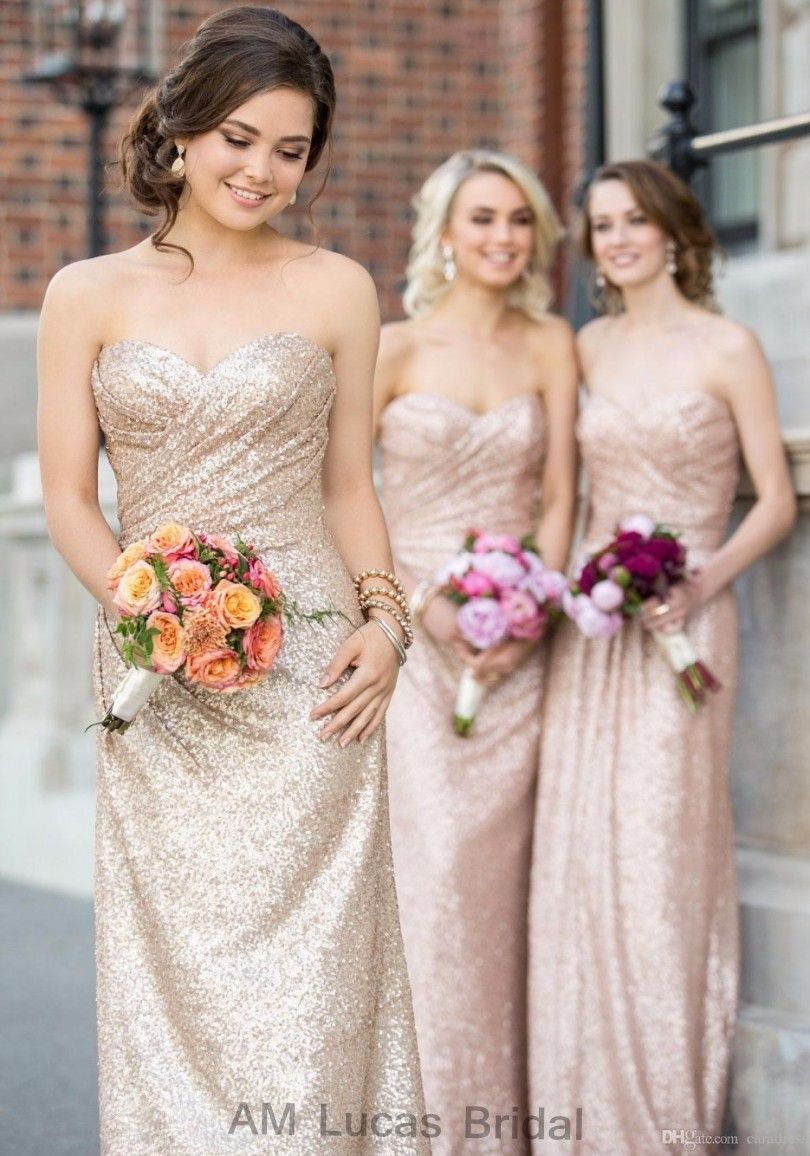Free shipping buy best gold sequin bridesmaid dresses rose gold