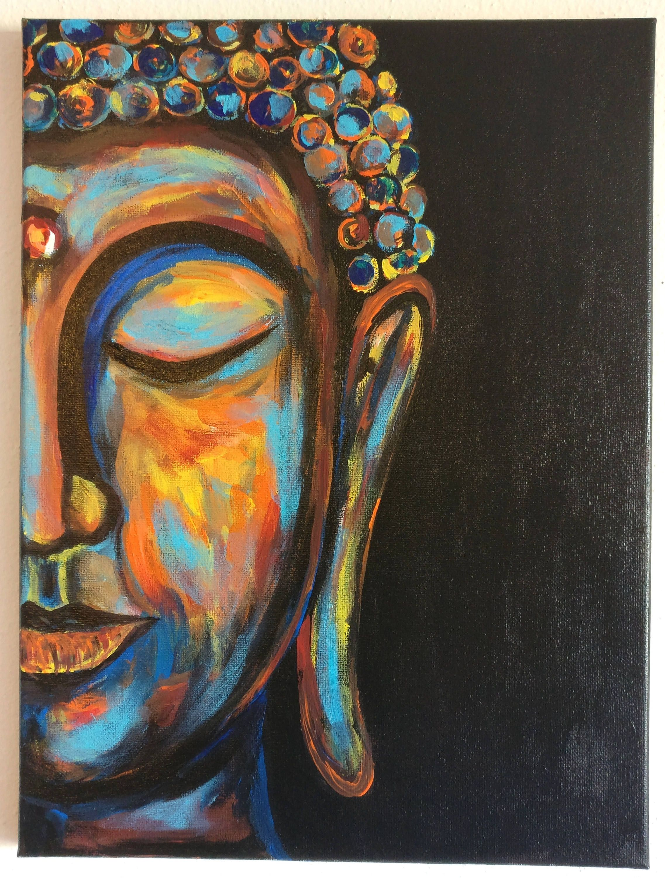 Buddha painting buddha wall art boho decor buddha face zen art canvas painting buddha decor gift for dad buddhist decor soul art by palettestory on