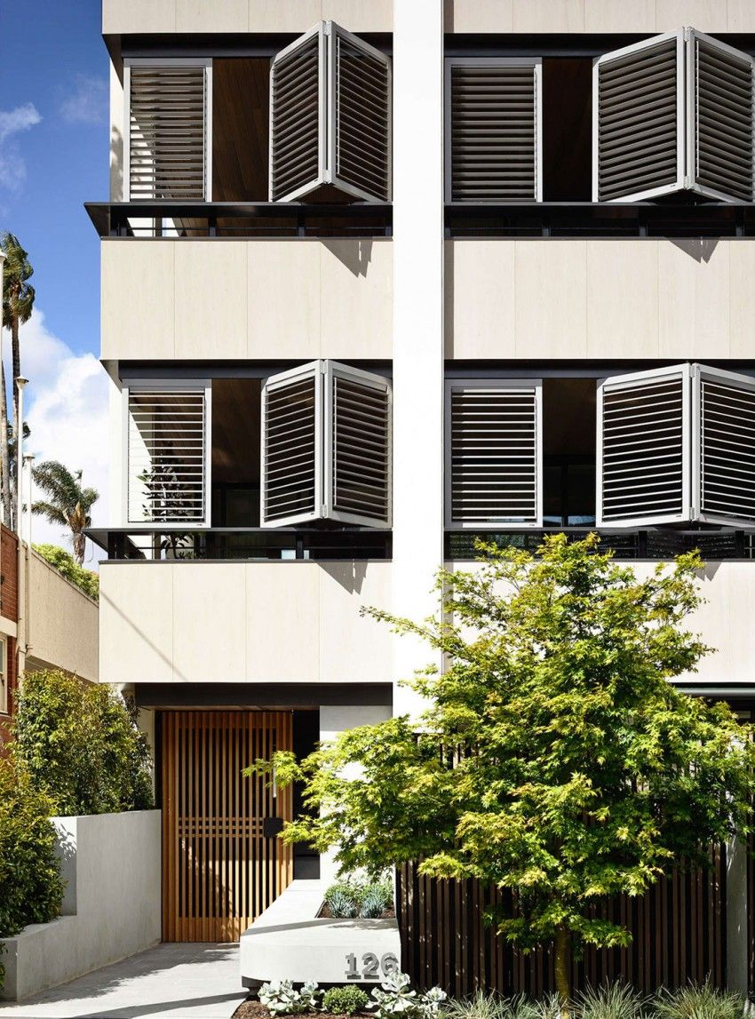 Walsh St South Yarra Apartment facade / shutters / exterior / entry Styling Nina Provan Photography Derek Swalwell Neometro CARR
