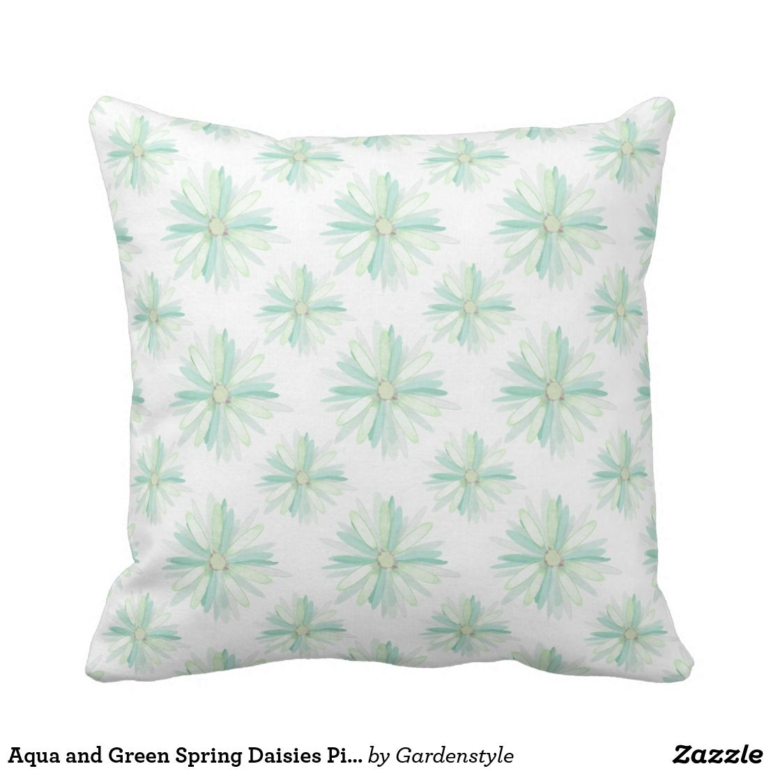 Aqua and green spring daisies pillow x baby nursery boutique