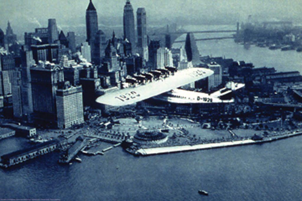 Dornier Flying Boat Over New York City, by Fairchild Aerial Surveys Inc.