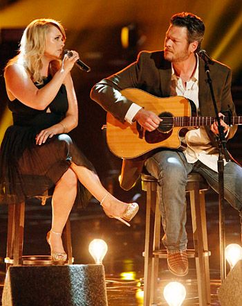 Blake and Miranda Shelton on the Voice singing a tribute song to Oklahoma. So touching to see the tears in Blake's eyes