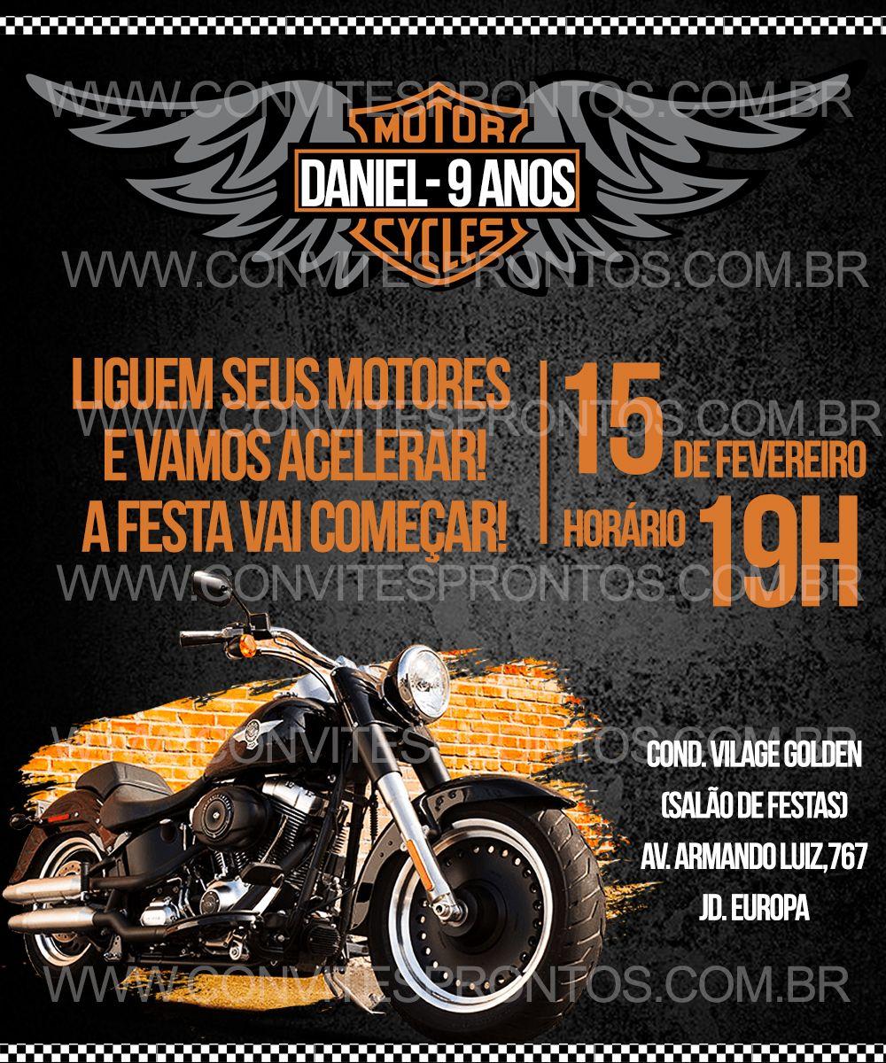 a0498e3eddfa7 CONVITE DE ANIVERSÁRIO DIGITAL TEMA MOTOS HARLEY DAVIDSON MOTOCICLISTA